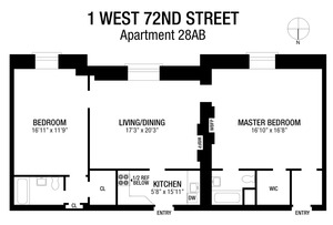 floorplan for 1 West 72nd Street #28AB
