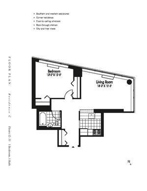 floorplan for 601 West 57th Street #18C