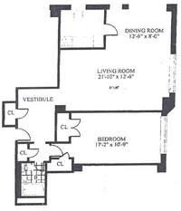 floorplan for 30 Park Avenue #14C