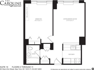 floorplan for 60 West 23rd Street #1119