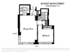 floorplan for 30 East 85th Street #5J