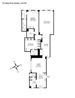 floorplan for 15 West 81st Street #6F