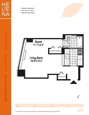 floorplan for 601 West 57th Street #20B