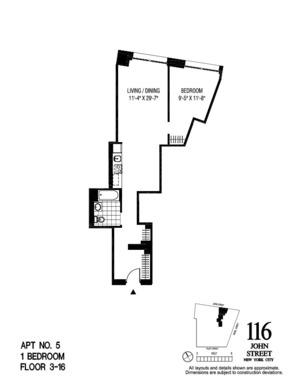 floorplan for 116 John Street #1305