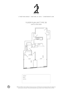 floorplan for 21 West End Avenue #1308