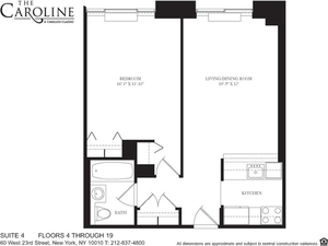 floorplan for 60 West 23rd Street #1004