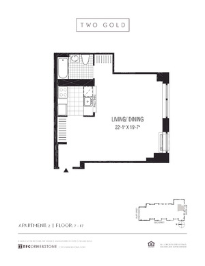 floorplan for 2 Gold Street #1402