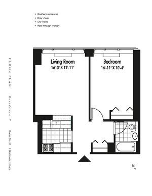 floorplan for 601 West 57th Street #29P