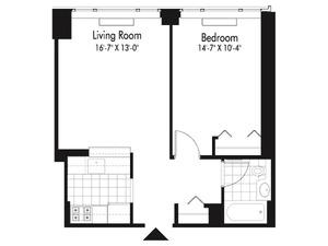 floorplan for 601 West 57th Street #15P