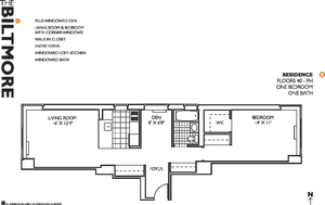 floorplan for 271 West 47th Street #52E
