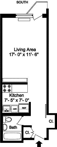 floorplan for 211 Thompson Street #3G