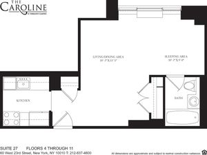 floorplan for 60 West 23rd Street #727