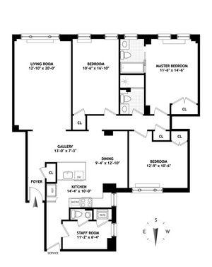 floorplan for 221 West 82nd Street #11D