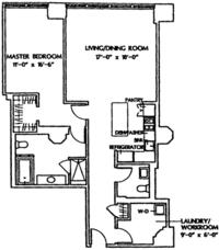 floorplan for 1 Main Street #5G