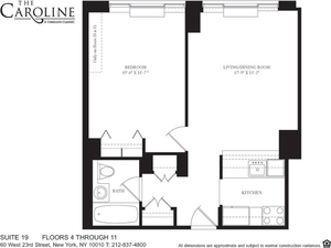 floorplan for 60 West 23rd Street #1019