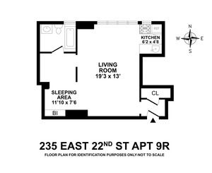 floorplan for 235 East 22nd Street #9R