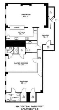 floorplan for 444 Central Park West #3E