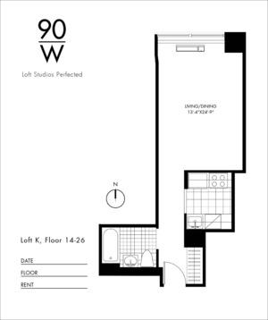 floorplan for 90 Washington Street #26K