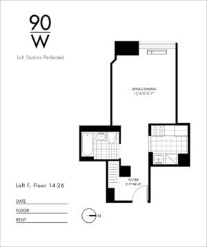 floorplan for 90 Washington Street #24F