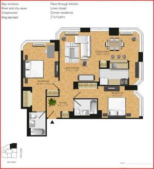 floorplan for 345 East 94th Street #23A