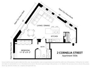 floorplan for 2 Cornelia Street #1006