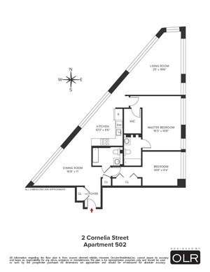 floorplan for 2 Cornelia Street #502