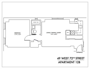 floorplan for 49 West 72nd Street #12B