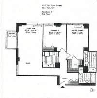 floorplan for 422 East 72nd Street #3E