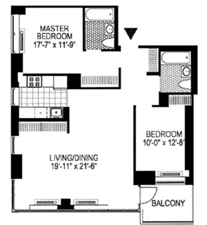 floorplan for 2 Gold Street #25F