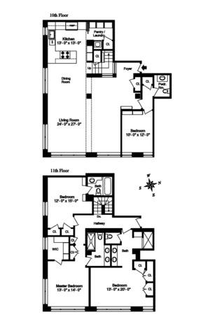 floorplan for 2 Cornelia Street #1004-5