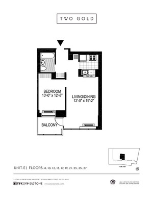floorplan for 2 Gold Street #23E