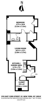 floorplan for 235 East 22nd Street #1P