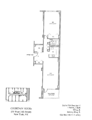 floorplan for 55 West 14th Street #18C