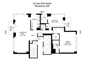 floorplan for 30 East 85th Street #22B