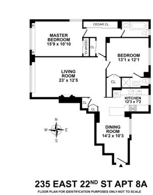 floorplan for 235 East 22nd Street #8A