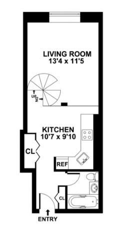 floorplan for 211 Thompson #5G