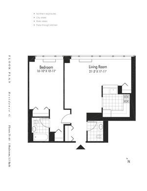 floorplan for 601 West 57th Street #38G