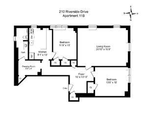 floorplan for 210 Riverside Drive #11B