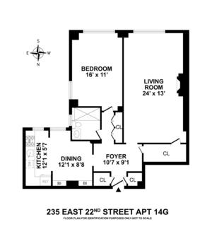 floorplan for 235 East 22nd Street #14G