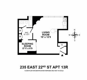 floorplan for 235 East 22nd Street #13R