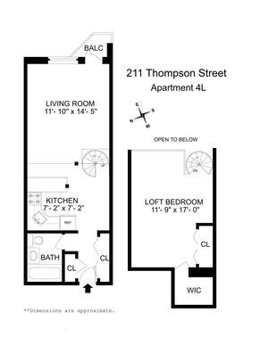 floorplan for 211 Thompson Street #4L