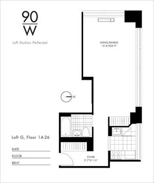 floorplan for 90 Washington Street #26G