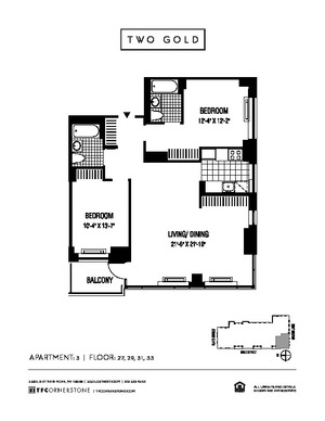 floorplan for 2 Gold Street #2903