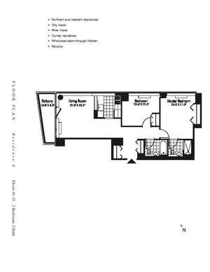floorplan for 601 West 57th Street #30E