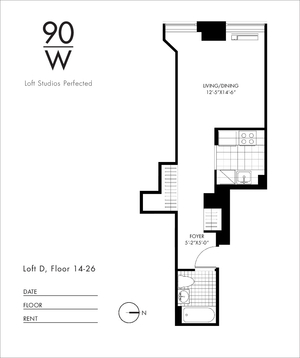 floorplan for 90 Washington Street #14D