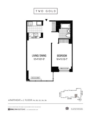 floorplan for 2 Gold Street #2204