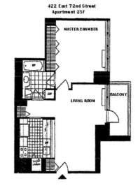 floorplan for 422 East 72nd Street #23F