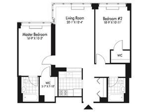 floorplan for 601 West 57th Street #35K